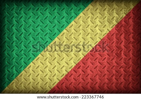 Republic of the Congo flag pattern on the diamond metal plate texture ,vintage style - stock photo
