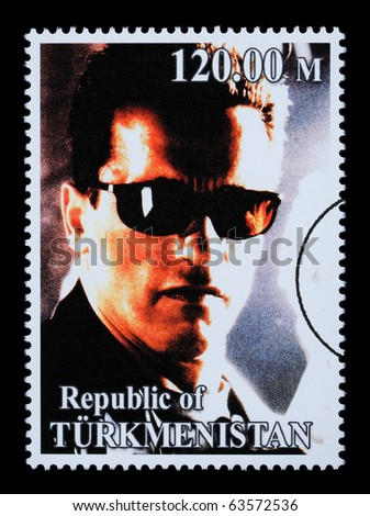 REPUBLIC OF TURKMENISTAN - CIRCA 2005: A postage stamp printed in Turkmenistan showing  Arnold Schwarzenegger, circa 2005 - stock photo