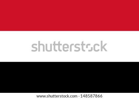 Republic of Yemen National Flag, Authentic version - stock photo