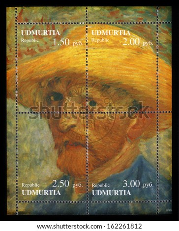 Republic Udmurtia - CIRCA 1998: a postage stamp printed in Russia showing an image of a Vincent  Van Gogh self portrait , circa 1998 - stock photo
