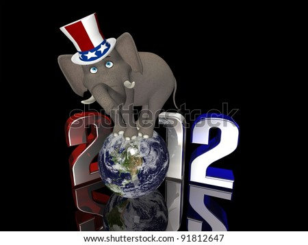 Republican Balance - 2012 Political Elephant balancing on a segmented Earth. Isolated on a black background. - stock photo