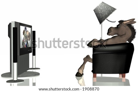 Republican blow-hard on television. Political humor. - stock photo