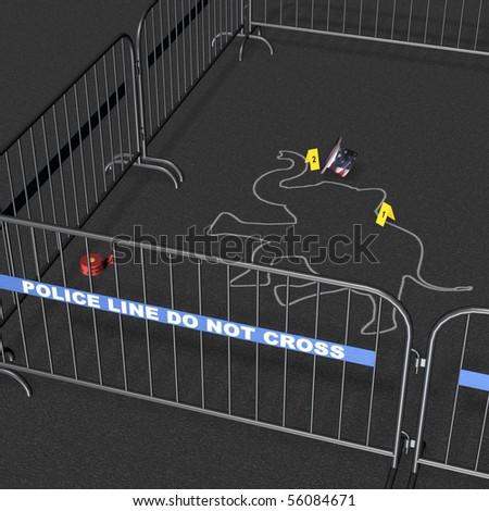Republican - Crime Scene. Republican elephant crime scene with chalk outline. Political Humor - stock photo