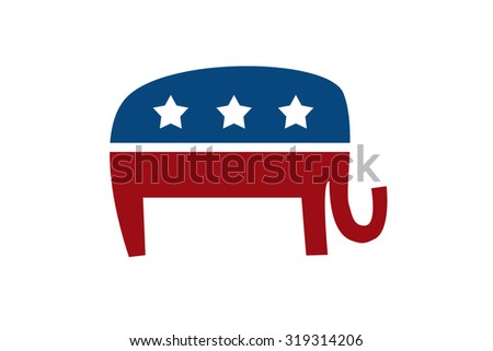 Republican Elephant isolated on white background - stock photo