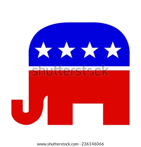 Republican elephant symbol in red white and blue colors. Isolated on a white background with a clipping path. - stock photo
