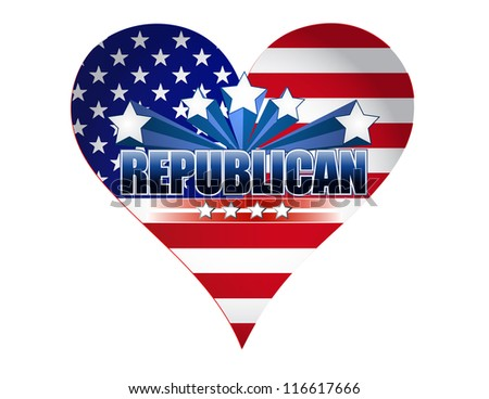 republican party usa heart illustration design over white - stock photo