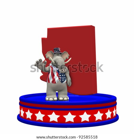 Republican Platform - Arizona GOP Political Elephant standing on a red, white, and blue platform in front of a 3D Arizona. Isolated on a white background. - stock photo