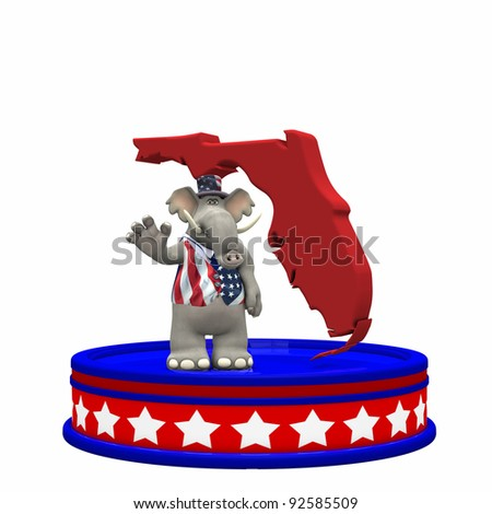 Republican Platform - Florida GOP Political Elephant standing on a red, white, and blue platform in front of a 3D Florida. Isolated on a white background. - stock photo