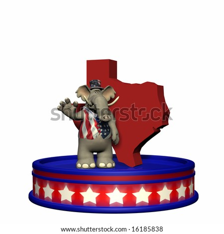 Republican Platform - Texas GOP Political Elephant standing on a red, white, and blue platform in front of a 3D Texas. Isolated on a white background. - stock photo