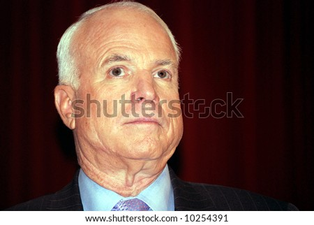 Republican presidential candidate, Senator John McCain campaigning, stern look - stock photo