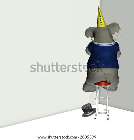 Republican, represented by an elephant, sitting on a stool facing a corner wearing a dunce cap. Political humor. - stock photo