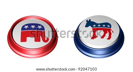 Republican Vote. Two Political Party Buttons. One in the up position and the other in the depressed position. Vote. Isolated on a white background. - stock photo