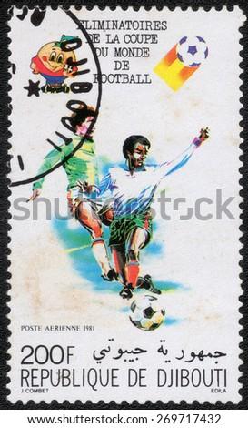 Republique De Djibouti - CIRCA 1981: A Stamp printed in Republique De Djibouti, shows the Soccer Players, circa 1981 - stock photo