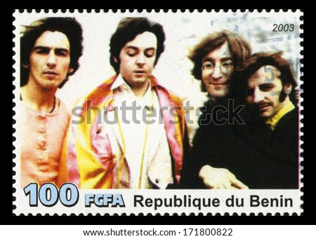 REPUBLIQUE DU BENIN - CIRCA 2003: A postage stamp portraying an image of The Beatles, circa 2003. - stock photo