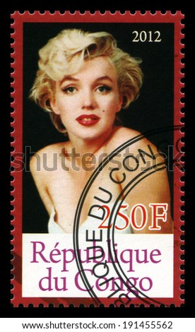 REPUBLIQUE DU CONGO - CIRCA 2012: A Postage Stamp from Congo depicting an image of legendary Hollywood actress Marilyn Monroe, circa 2012. - stock photo