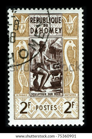 REPUBLIQUE DU DAHOMEY-CIRCA 1967:A stamp printed in REPUBLIQUE DU DAHOMEY shows image of the African sculpture, circa 1967.