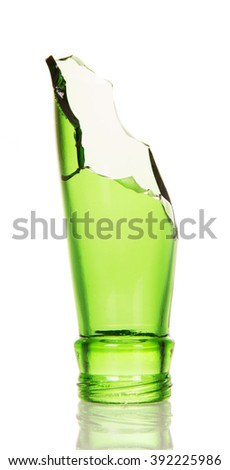 Repulsed the neck of green bottle isolated on white background. - stock photo