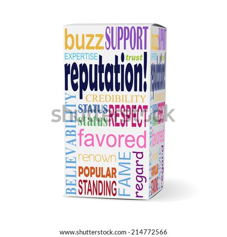 reputation word on product box with related phrases - stock photo