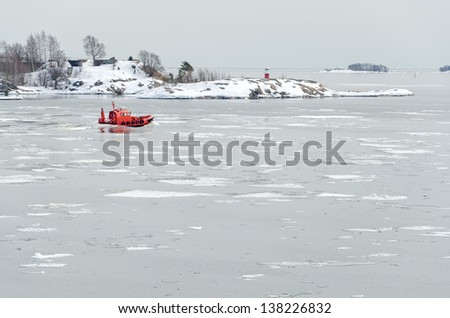 Rescue boat in the Baltic Sea. - stock photo