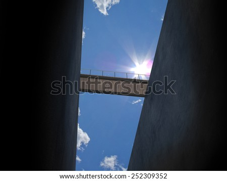 rescue bridge from below - stock photo
