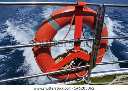 rescue equipment on board of the jacht - stock photo