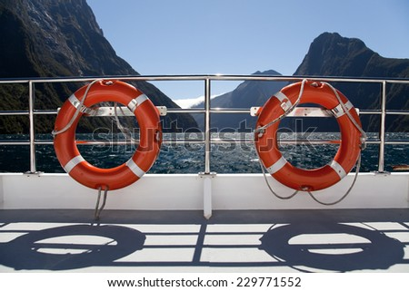 Rescue rings on upper deck boat, New Zealand, Southern Island