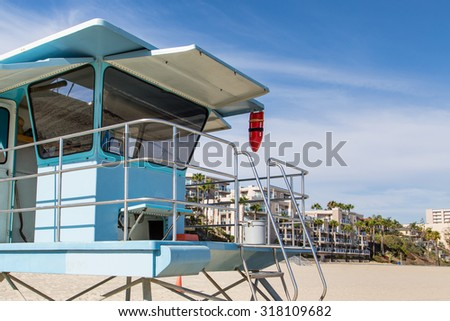 rescue station on the beach in Long Beach, Los Angeles  - stock photo