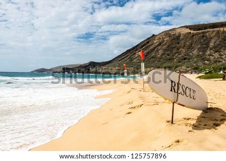 Rescue surf board - stock photo