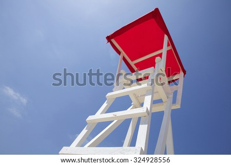 Rescue tower on the beach - stock photo