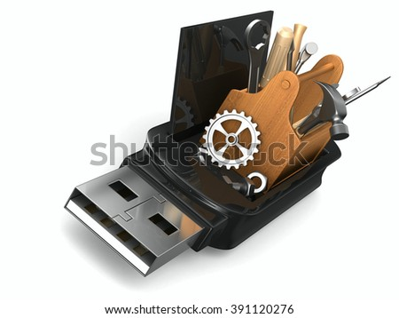 rescue usb flash drive on white background. Isolated 3D image - stock photo