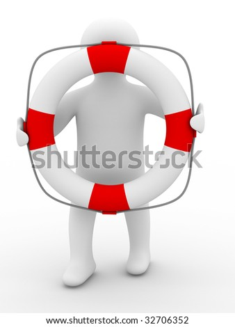 rescuer with lifebuoy ring on white background. Isolated 3D image - stock photo