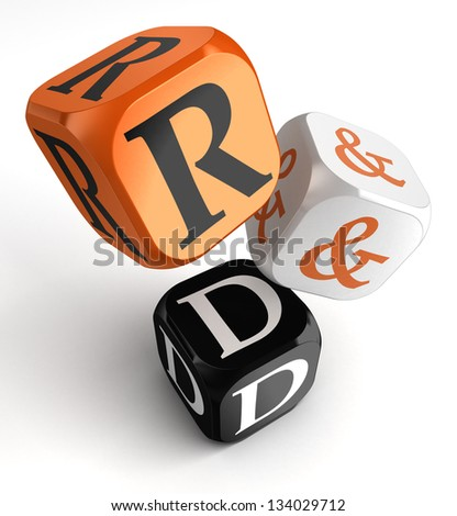 research and development orange black dice blocks on white background. clipping path included - stock photo
