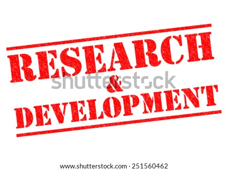 RESEARCH AND DEVELOPMENT red Rubber Stamp over a white background. - stock photo