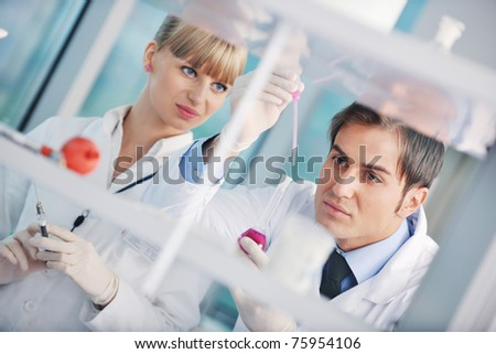 research and  science doctor student  people  in bright laboratory representing chemistry education and medicine concept - stock photo