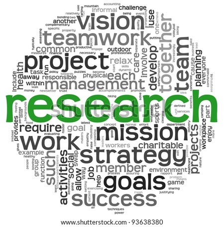 Research and strategy concept in word tag cloud on white background - stock photo