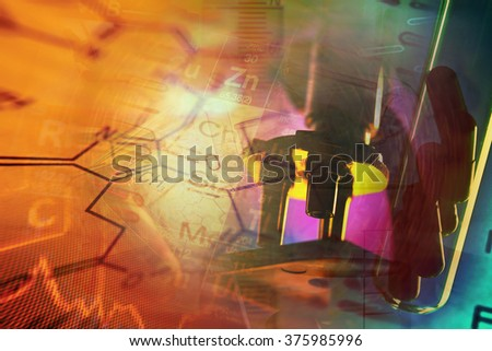 Research background with microscope and laboratory glass.Science theme. - stock photo