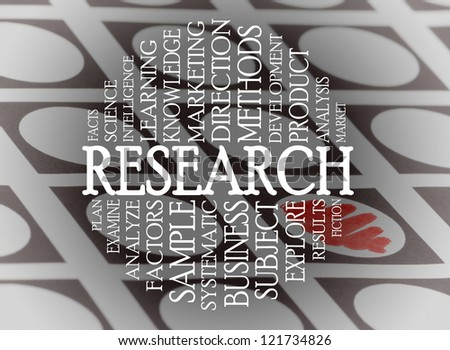 Research cloud concept with a chechlist background - stock photo