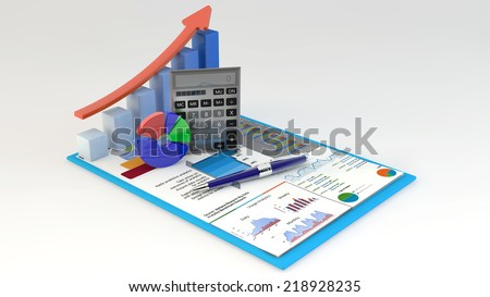 Research concept office calculator bar graph stock illustration research concept office calculator bar graph and pie diagram and pen on financial reports ccuart Gallery
