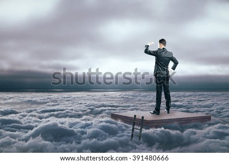 Research concept with man protecting eyes from sunlight in the sky - stock photo