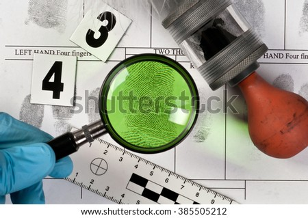 Research forensic fingerprint - stock photo