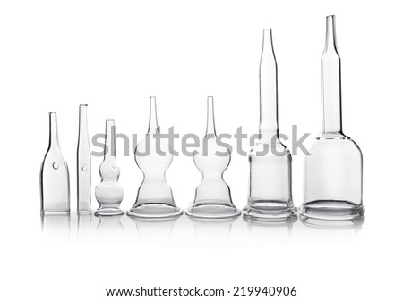 Research lab assorted glassware equipment,isolated. - stock photo