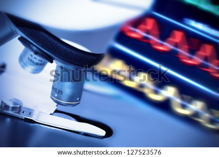 Research microscope - stock photo