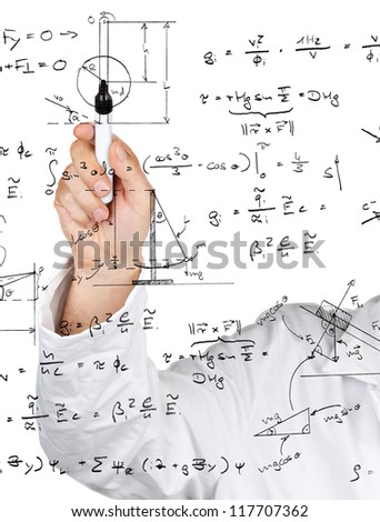 Research scientist writing physics diagrams and formulas with pen on transparent board