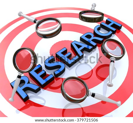 Research target concept related information searching various information - stock photo