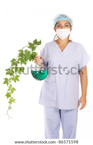 researcher holding transgenic creeper plant isolated on white - stock photo
