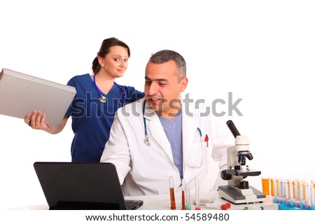 Researchers in laboratory - stock photo