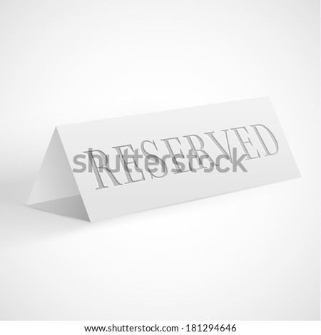 Reservation sign -  raster version - stock photo