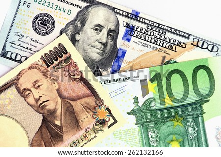 Reserve currency :JPY/USD /EUR - stock photo