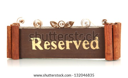 Reserved sign isolated on white