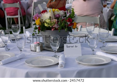 Reserved Table at a Wedding
